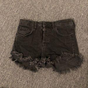 Size 27 black high waisted distressed denim shorts